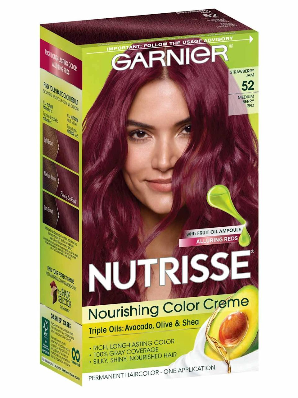 """<p>Garnier Nutrisse Color Crème comes in a whopping 45 shades, but this Strawberry Jam shade in particular is perfect for people who'd rather try a deeper, berry pink. Plus, the formula is infused with a hydrating blend of avocado, shea, and coconut oils to condition hair, so it grasps onto color better and for longer wear.</p> <p><strong>$7</strong> (<a href=""""https://www.amazon.com/Garnier-Nutrisse-Nourishing-Strawberry-Medium/dp/B07KJ4RTW9"""" rel=""""nofollow noopener"""" target=""""_blank"""" data-ylk=""""slk:Shop Now"""" class=""""link rapid-noclick-resp"""">Shop Now</a>)</p>"""