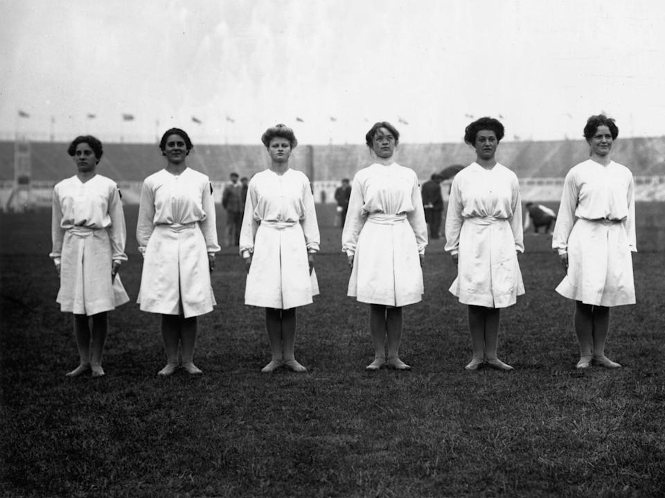 Danish gymnasts team at the London Olympics, 1908 (Getty Images)