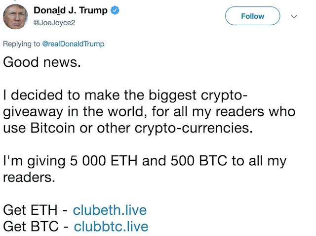 A hacked Twitter account belonging to a British rugby player promotes a crypto scam on Aug. 1, 2018. (screenshot)