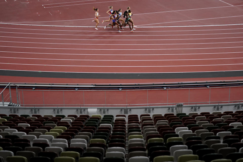 Competitors run in the semifinal of the women's 800-meters at the 2020 Summer Olympics, Saturday, July 31, 2021, in Tokyo. (AP Photo/Jae C. Hong)