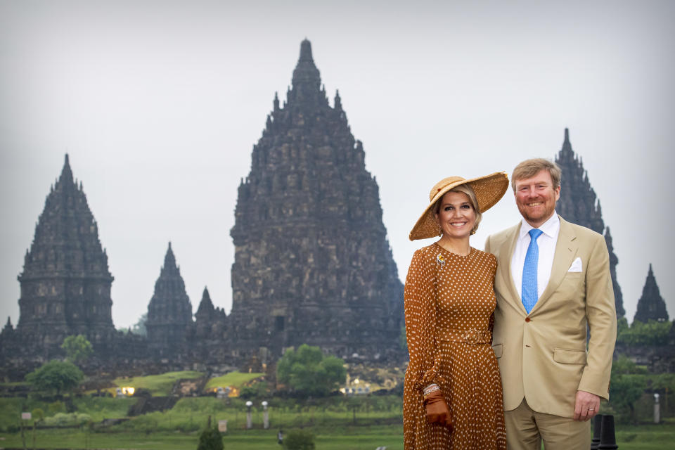 YOGYAKARTA, INDONESIA - MARCH 11: King Willem-Alexander of The Netherlands and Queen Maxima of The Netherlands visit the Prambanan Temple on March 11, 2020 in Yogyakarta, Indonesia. (Photo by Patrick van Katwijk/Getty Images)