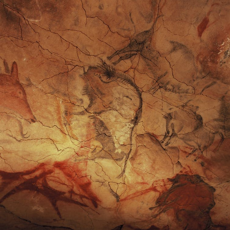 """<span>Cave paintings depict early humans in species-rich ecosystems.</span> <span><a class=""""link rapid-noclick-resp"""" href=""""https://commons.wikimedia.org/wiki/File:Cave_of_Altamira_and_Paleolithic_Cave_Art_of_Northern_Spain-110113.jpg"""" rel=""""nofollow noopener"""" target=""""_blank"""" data-ylk=""""slk:Yvon Frunea/Wikimedia Commons."""">Yvon Frunea/Wikimedia Commons.</a>, <a class=""""link rapid-noclick-resp"""" href=""""http://creativecommons.org/licenses/by-sa/4.0/"""" rel=""""nofollow noopener"""" target=""""_blank"""" data-ylk=""""slk:CC BY-SA"""">CC BY-SA</a></span>"""