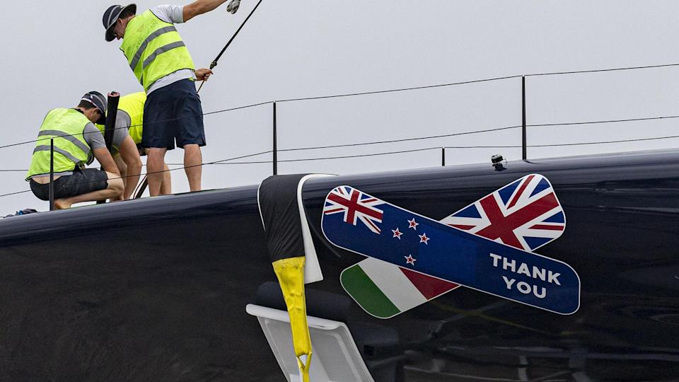 Patriot 2.0 features a bandage after being repaired and voyaging back into the water. (Photo courtesy of America's Cup)