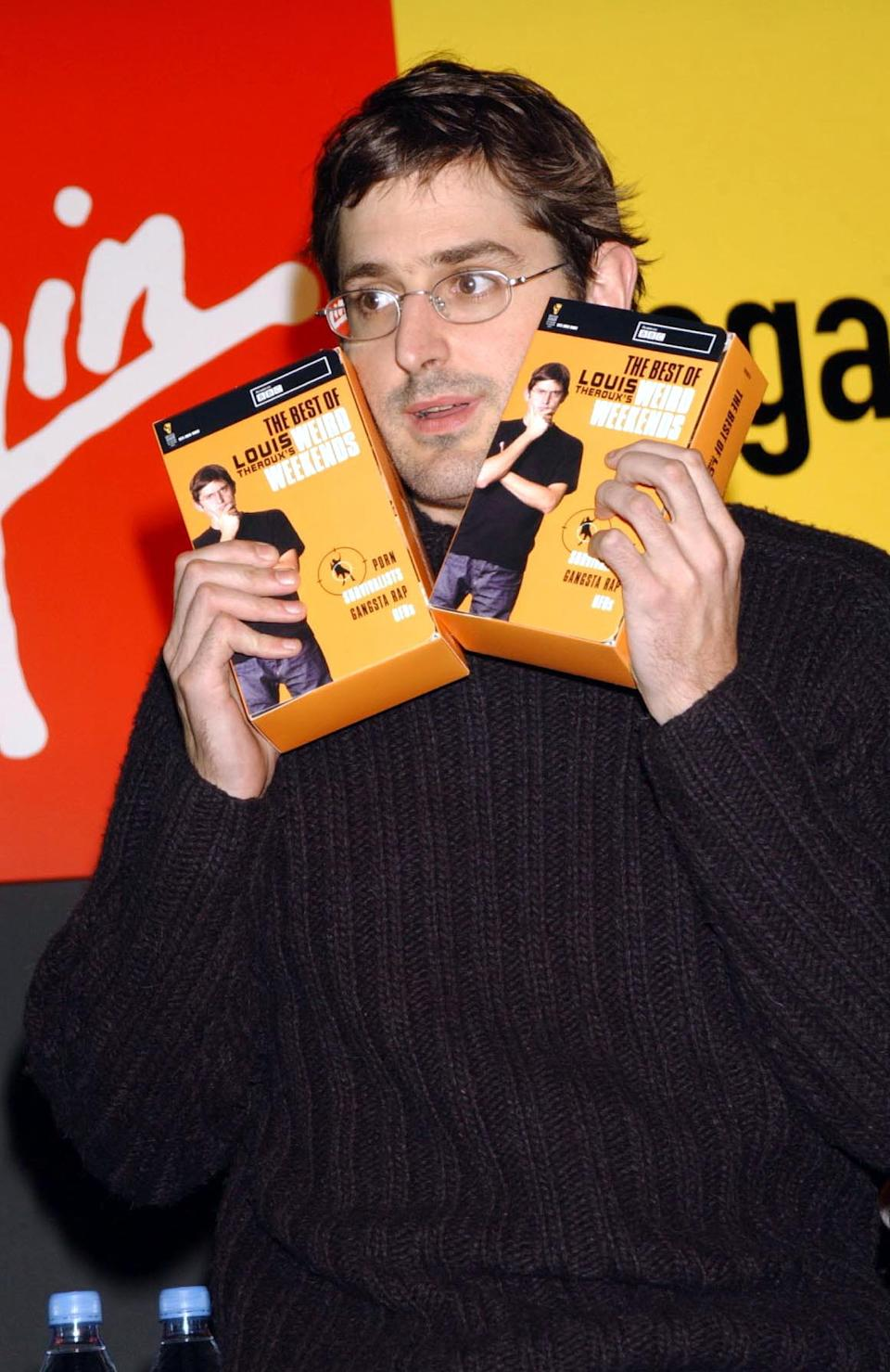 Offbeat TV interviewer Louis Theroux launches the 'Best of Weird Weekends', a collection of the finest moments from his BBC TWO series, at Virgin Megastore in  London's Oxford Street.   (Photo by Yui Mok - PA Images/PA Images via Getty Images)
