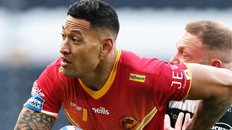 Israel Folau, pictured playing for Catalans Dragons, caught a short kick-off in the dying minutes to set up a match-winning try.