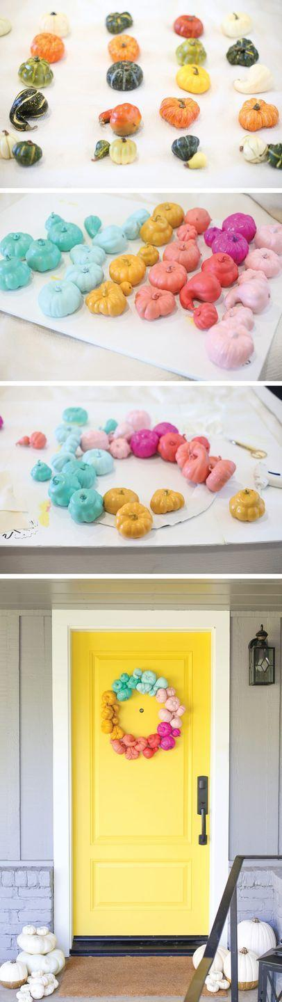 """<p>Or, you could break all the rules and make your house stand out with a vibrant rainbow of mini gourds. </p><p><a class=""""link rapid-noclick-resp"""" href=""""https://lovelyindeed.com/make-a-colorful-halloween-wreath-in-about-an-hour/"""" rel=""""nofollow noopener"""" target=""""_blank"""" data-ylk=""""slk:GET THE TUTORIAL"""">GET THE TUTORIAL</a></p>"""