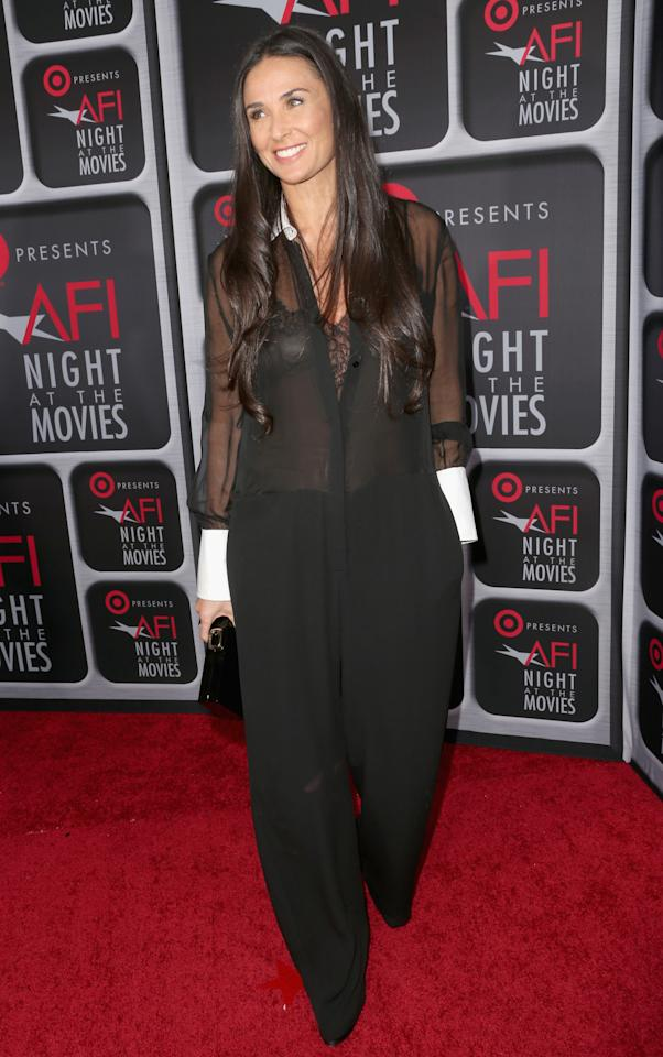 HOLLYWOOD, CA - APRIL 24:  Actress Demi Moore arrives on the red carpet for Target Presents AFI's Night at the Movies at ArcLight Cinemas on April 24, 2013 in Hollywood, California.  (Photo by Frederick M. Brown/Getty Images)