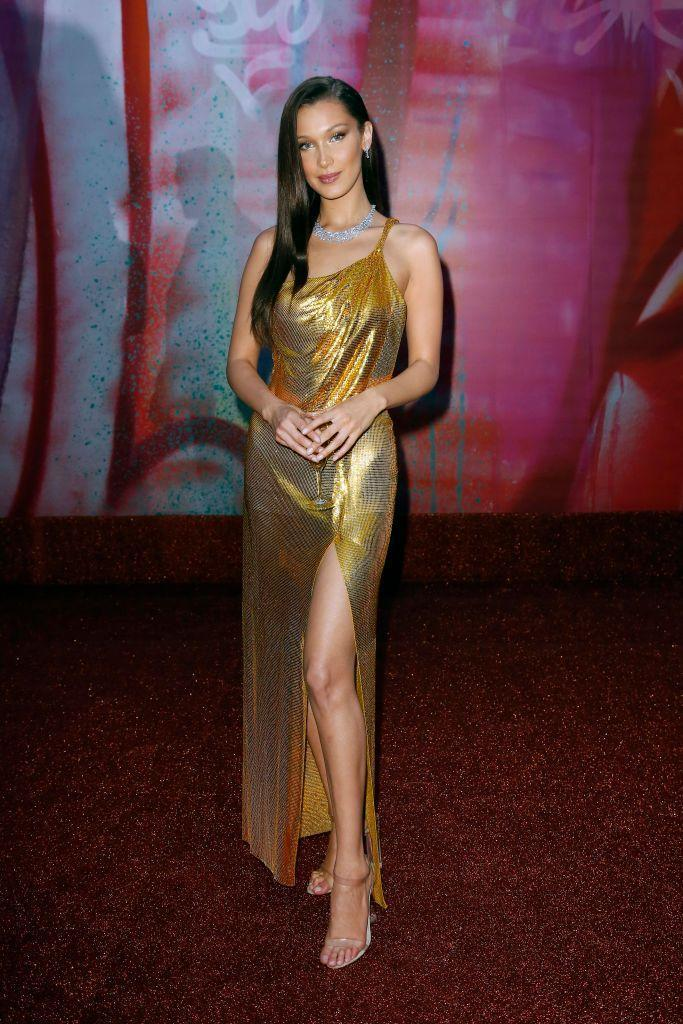 <p>Bella Hadid went for gold Versace at the BVLGARI Dinner & Party at Stadio dei Marmi in Rome.</p>
