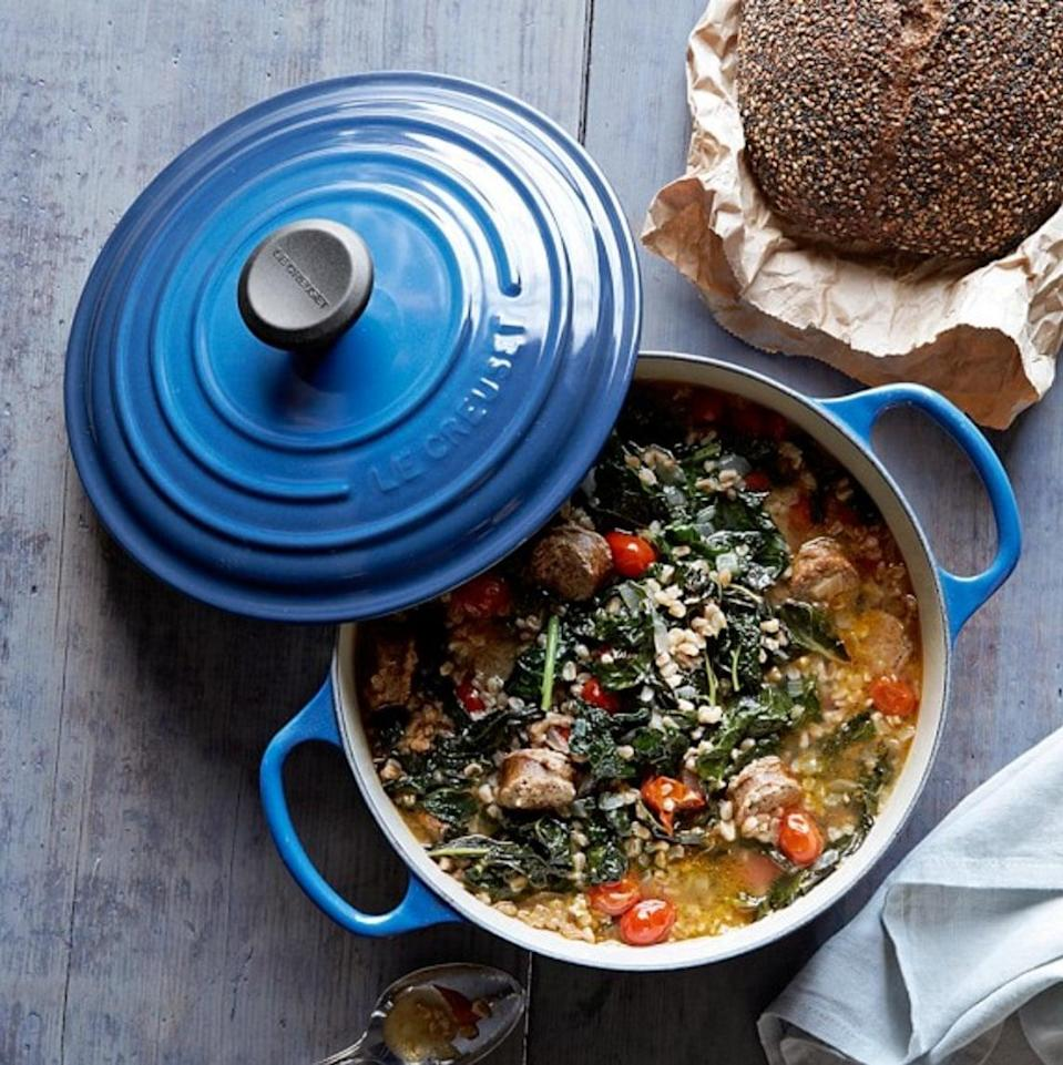 "<p>The price tag of a <span>Le Creuset Round Dutch Oven</span> ($150-$435) might make you cringe at first, but trust us: buying one of these is an ""adulting"" moment you won't regret later. It's the <a href=""https://www.popsugar.com/food/Le-Creuset-Dutch-Oven-Review-43834417"" class=""link rapid-noclick-resp"" rel=""nofollow noopener"" target=""_blank"" data-ylk=""slk:best dutch oven ever"">best dutch oven ever</a>, thanks to its cast-iron lid, enameled exterior, ability to cook anything in or out of the oven, and undeniably chic look. One of our writers swears, ""There is no piece in my kitchen that works as hard and looks as good.""</p>"