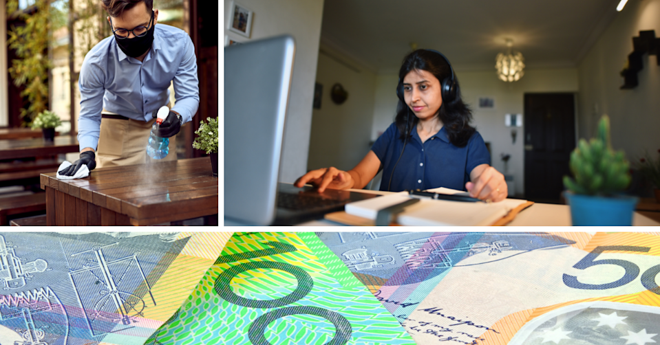 A hospitality worker cleans a table while wearing a mask, a woman works on her laptop in her home and Australian money