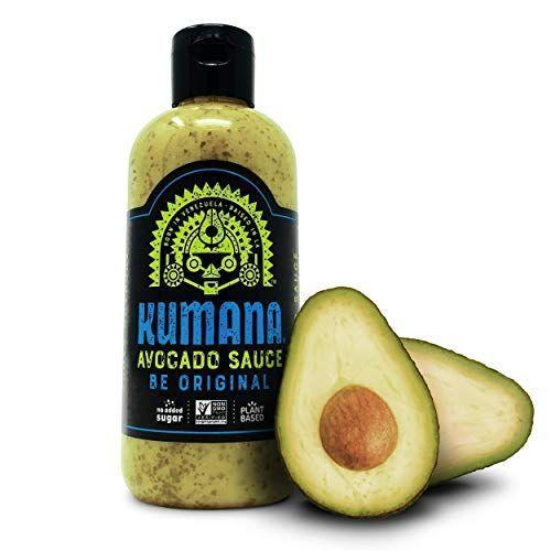"""<p><strong>Kumana</strong></p><p>amazon.com</p><p><a href=""""https://www.amazon.com/dp/B077QQR4KW?tag=syn-yahoo-20&ascsubtag=%5Bartid%7C10055.g.32971830%5Bsrc%7Cyahoo-us"""" rel=""""nofollow noopener"""" target=""""_blank"""" data-ylk=""""slk:Shop Now"""" class=""""link rapid-noclick-resp"""">Shop Now</a></p><p>This avocado sauce from Kumana is perfect on tacos, quesadillas, and homemade burrito bowls for a total flavor boost. <strong>It's also plant-based and non-GMO project verified. </strong>A one-tablespoon serving is only 15 calories, contains no added sugar, and is packed with wholesome ingredients including avocado, parsley, and cilantro. </p>"""