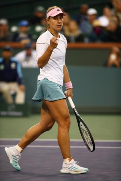 Germany's Angelique Kerber celebrates match point in her Indian Wells WTA quarter-final win over Venus Williams
