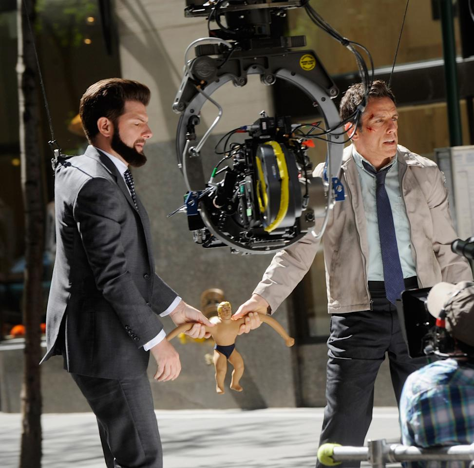 "Ben Stiller and Adam Scott filming on location for ""The Secret Life of Walter Mitty"" on May 13, 2012 in New York City."