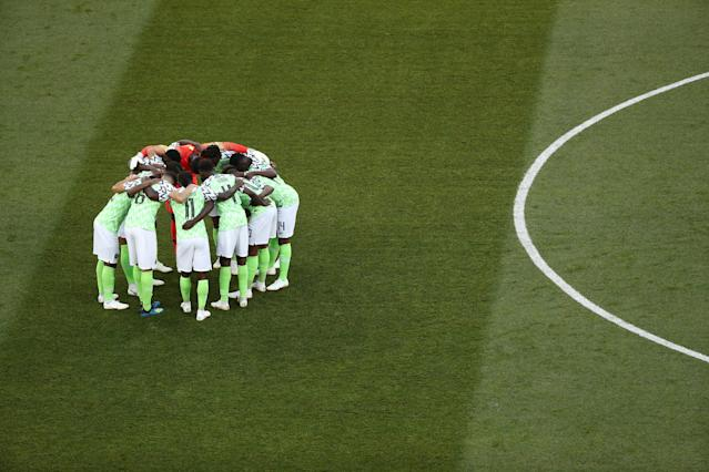 Soccer Football - World Cup - Group D - Nigeria vs Iceland - Volgograd Arena, Volgograd, Russia - June 22, 2018 Nigeria players huddle before the match REUTERS/Sergio Perez
