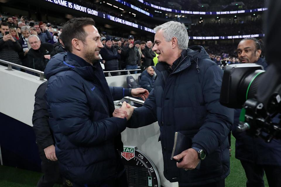 <p>Old friends Frank Lampard and Jose Mourinho lock horns once again this weekend</p>Tottenham Hotspur FC via Getty Images