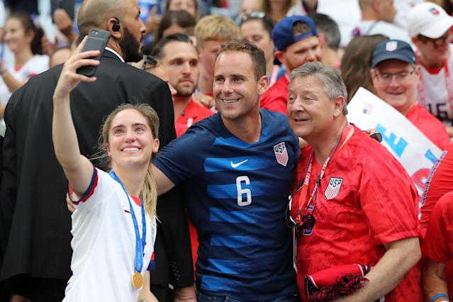 Morgan Brian of the USA poses for a selfie with loved ones after the 2019 FIFA Women's World Cup France Final match between The United States of America and The Netherlands at Stade de Lyon on July 07, 2019 in Lyon, France. (Photo by Elsa/Getty Images)