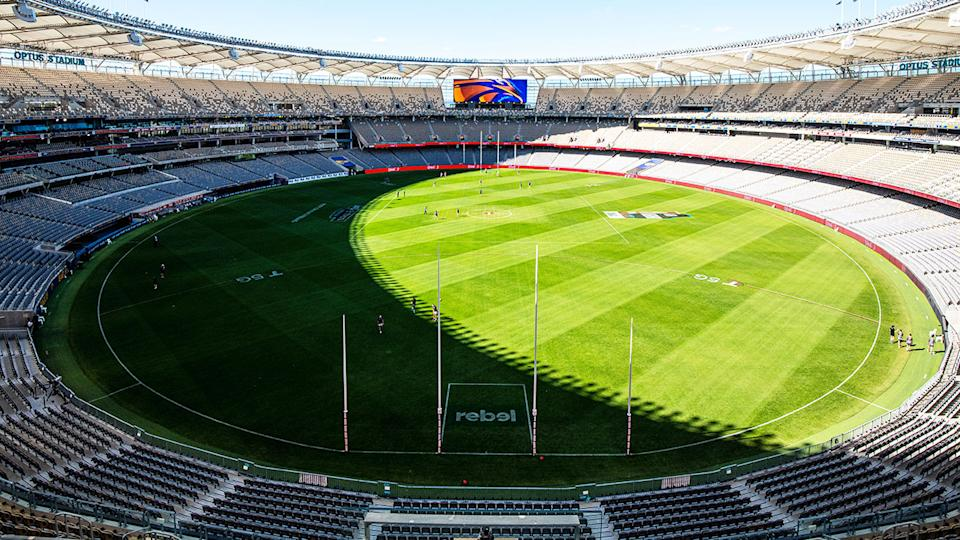 West Coast and the Western Bulldogs, pictured here playing in an empty Optus Stadium.
