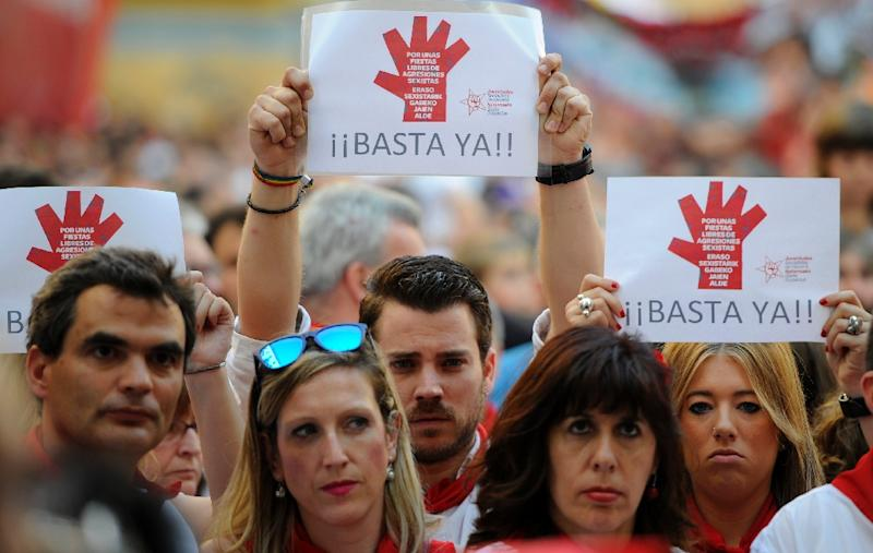 """Enough!"" cried protesters in Pamplona in 2015, in a protest against sexual assault (AFP Photo/Miguel RIOPA)"