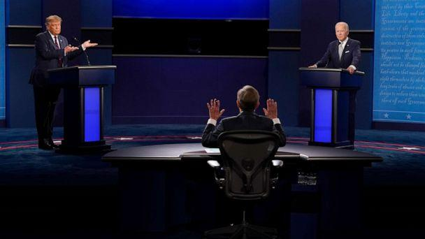 PHOTO: Moderator Chris Wallace of Fox News, center, gesturing during the first presidential debate between President Donald Trump, left, and Democratic presidential candidate former Vice President Joe Biden, right, Sept. 29, 2020, in Cleveland. (Patrick Semansky/AP)