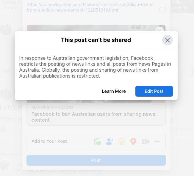 Screenshot of Facebook ban