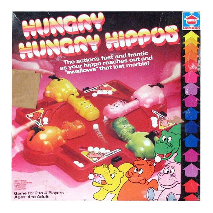 """<p><a class=""""link rapid-noclick-resp"""" href=""""https://www.amazon.com/Hasbro-98936-Hungry-Hippos/dp/B008FD8ETS/ref=sr_1_1?tag=syn-yahoo-20&ascsubtag=%5Bartid%7C10063.g.34738490%5Bsrc%7Cyahoo-us"""" rel=""""nofollow noopener"""" target=""""_blank"""" data-ylk=""""slk:BUY NOW"""">BUY NOW</a><br></p><p>Hungry Hungry Hippos was — and still is — a popular game among kids. The game has stayed a part of pop culture since it was introduced in 1978.</p>"""