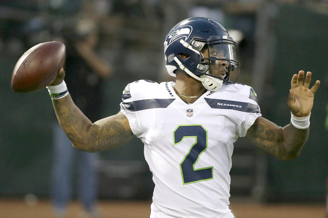FILE - In this Aug. 31, 2017, file photo, Seattle Seahawks quarterback Trevone Boykin (2) passes against the Oakland Raiders during the first half of an NFL preseason football game in Oakland, Calif. Boykin was sentenced to three years in prison after pleading guilty Wednesday, Feb. 26, 2020, to charges from the 2018 beating of his girlfriend. (AP Photo/Eric Risberg, File)