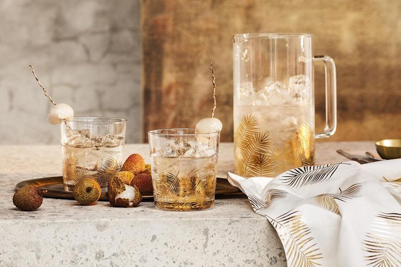 Leaf print jug, £12.99; leaf print glasses, £3.99 each; leaf print tea-towel, £4.99, all H&M Home: H&M Home