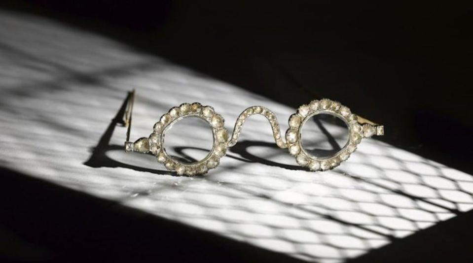 A pair of diamond spectacles from 17th century Mughal era will be auctioned in London this month (Sotheby's)