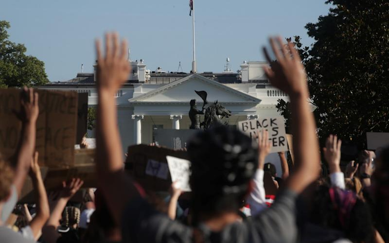 Demonstrations outside the White House have been growing in recent days - REUTERS