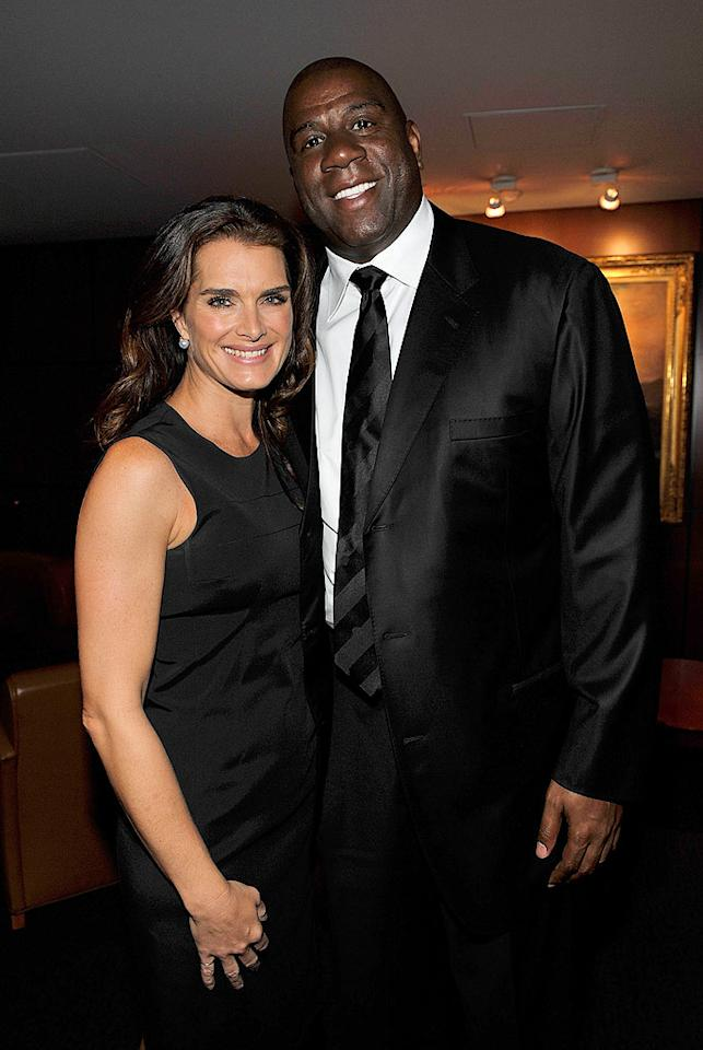 """Brooke Shields instantly became friends with Michael when she first met him at the age of 13, while Magic Johnson was featured in Jackson's music video """"Remember the Time."""" Kevin Mazur/MJ Memorial/<a href=""""http://www.wireimage.com"""" target=""""new"""">WireImage.com</a> - July 7, 2009"""