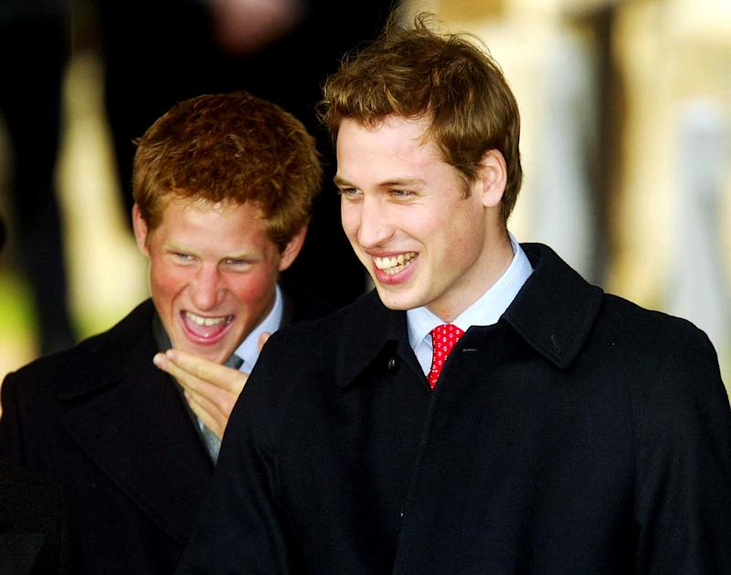 HRH Prince Harry (L) and HRH Prince William leave along with other members of the Royal family after attending a Christmas Day service St. Mary Magdelene Church on December 25, 2003 in Norfolk, England.