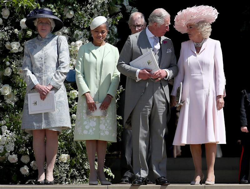 Lady Jane Fellowes with Doria Ragland, Prince Charles and the Duchess of Cornwall at Prince Harry and Meghan Markle's wedding in May 2018. (Image via Getty Images).
