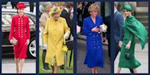 """<p>There may be no style statement more iconically royal than the <a href=""""https://www.townandcountrymag.com/style/fashion-trends/g26752353/queen-elizabeth-monochromatic-outfits-photos/"""" rel=""""nofollow noopener"""" target=""""_blank"""" data-ylk=""""slk:monochrome look"""" class=""""link rapid-noclick-resp"""">monochrome look</a>. Queen Elizabeth has famously been donning all-one-color outfits for decades, and she's clearly served as style inspiration for the generations of royals that have followed. For bold hues to muted neutrals, here's how the royal family does monochrome. </p>"""