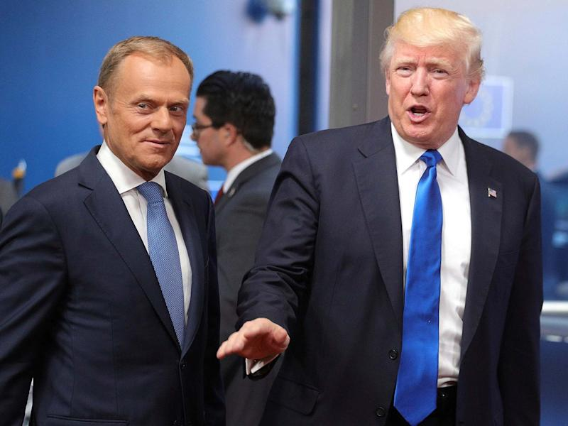 US president Donald Trump and European Council president Donald Tusk in 2017: AP