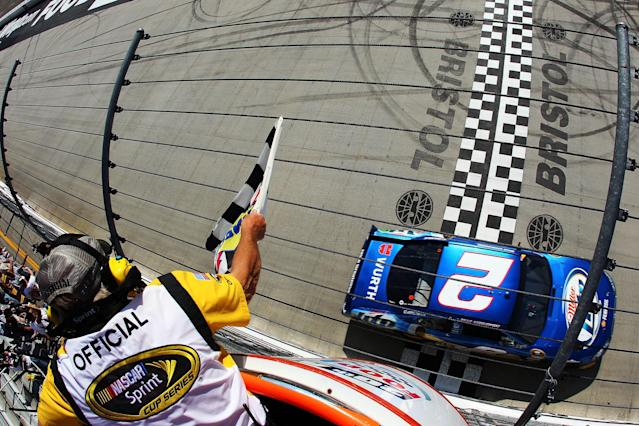 BRISTOL, TN - MARCH 18: Brad Keselowski, driver of the #2 Miller Lite Dodge, crosses the finishline to win the NASCAR Sprint Cup Series Food City 500 at Bristol Motor Speedway on March 18, 2012 in Bristol, Tennessee. (Photo by Justin Edmonds/Getty Images for NASCAR)