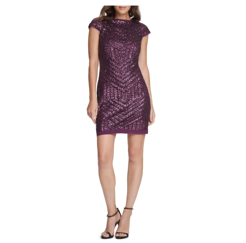 Vince Camuto Sequin Cap Sleeve Shift Cocktail Dress. Image via Nordstrom.