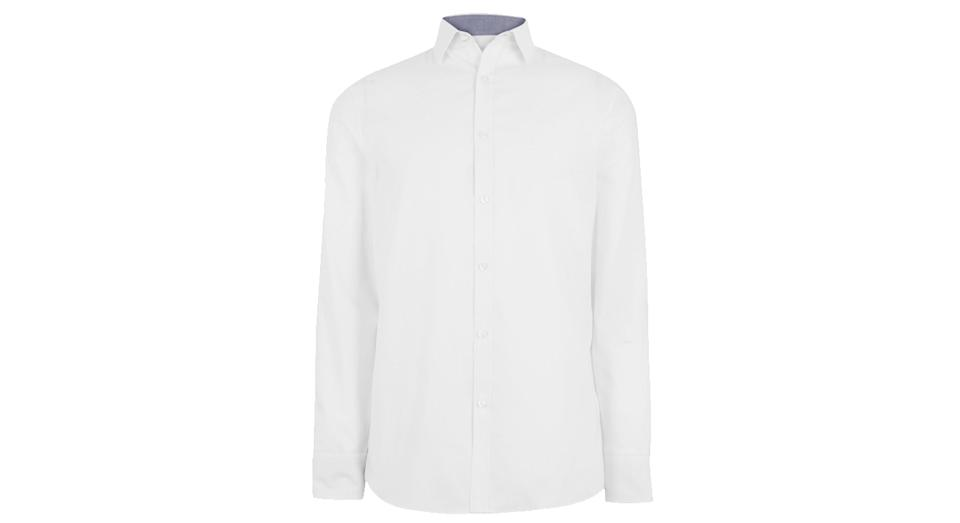Skinny Fit Easy Iron Textured Shirt