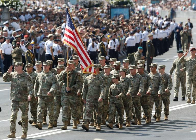 Soldiers from the United States, Britain and Canada were also on parade in Kiev