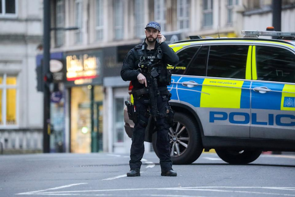 A police officer at the scene of the Streatham terror attack (REUTERS)