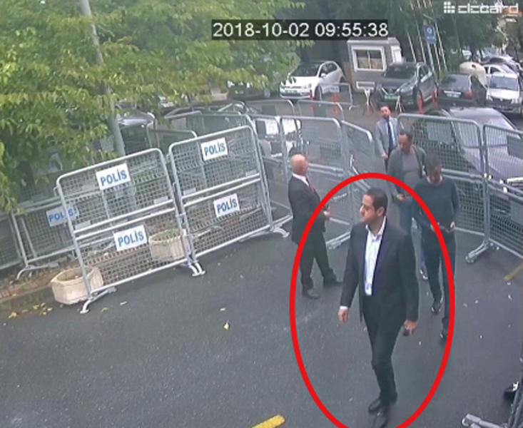 "ADDS NAME OF SUSPECT - In a frame from surveillance camera footage taken Oct. 2, 2018, and published Thursday, Oct. 18, 2018, by the pro-government Turkish newspaper Sabah, a man identified by Turkish officials as Maher Abdulaziz Mutreb, walks toward the Saudi Consulate in Istanbul before writer Jamal Khashoggi disappeared. Saudi Arabia, which initially called the allegations ""baseless,"" has not responded to repeated requests for comment from The Associated Press over recent days, including on Thursday over Mutreb's identification. (Sabah via AP)"
