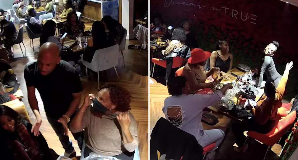 A Black restaurant owner speaking to customers (left) and customers dancing and twerking (left)