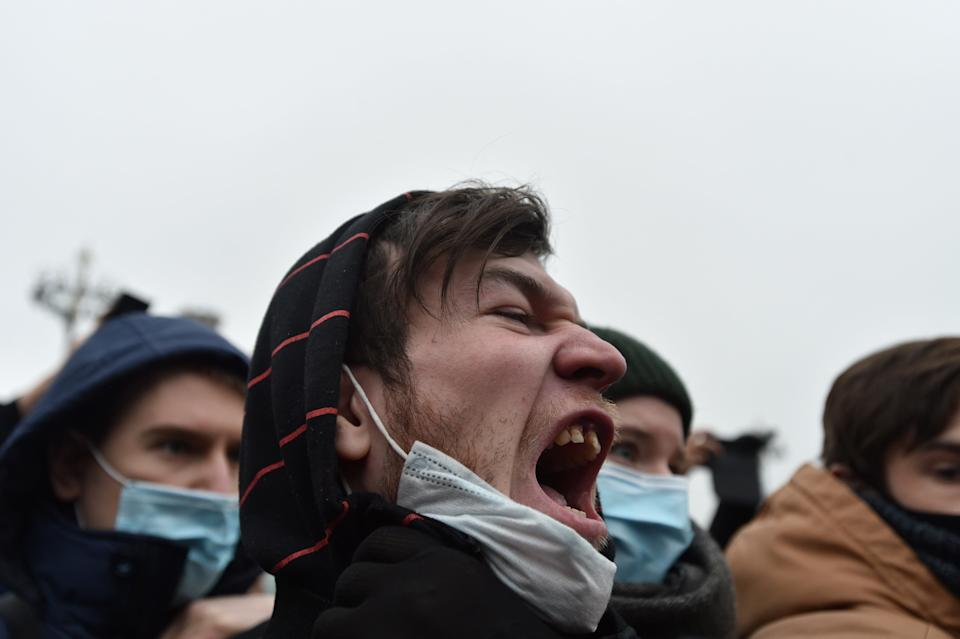 A man shouts during a rally in support of jailed Russian opposition leader Alexei Navalny in MoscowREUTERS