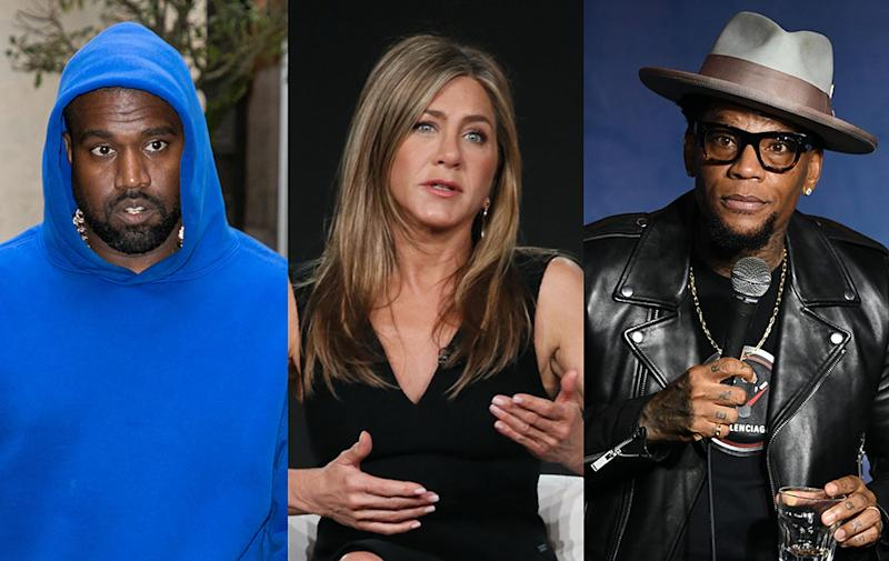 Kanye West, Jennifer Aniston and D.L. Hughley have been directly affected by COVID-19. (Photo: Getty Images)