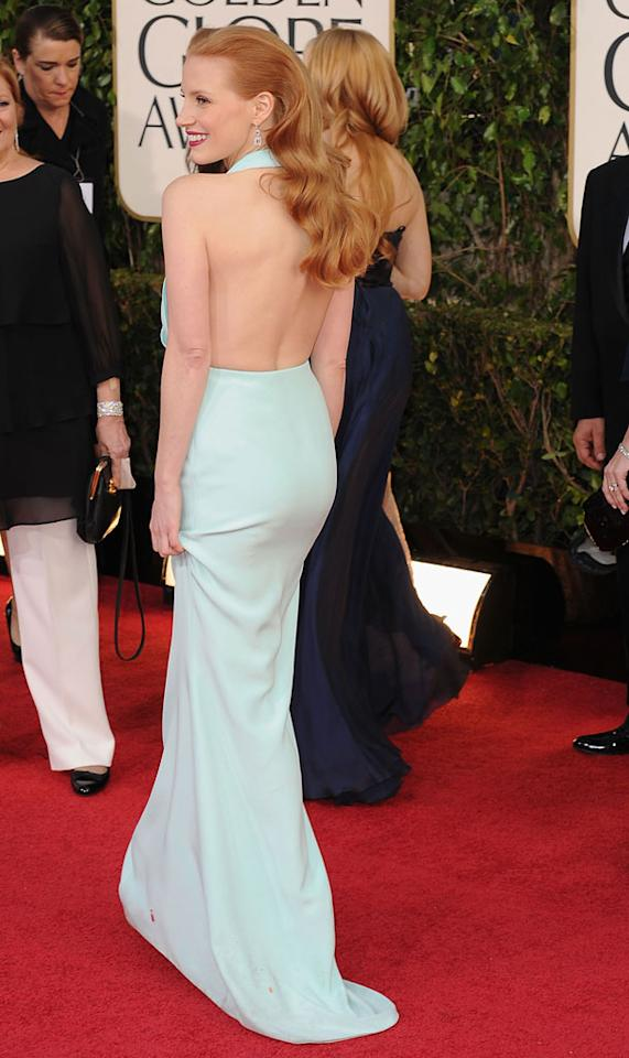 Jessica Chastain arrives at the 70th Annual Golden Globe Awards at the Beverly Hilton in Beverly Hills, CA on January 13, 2013.