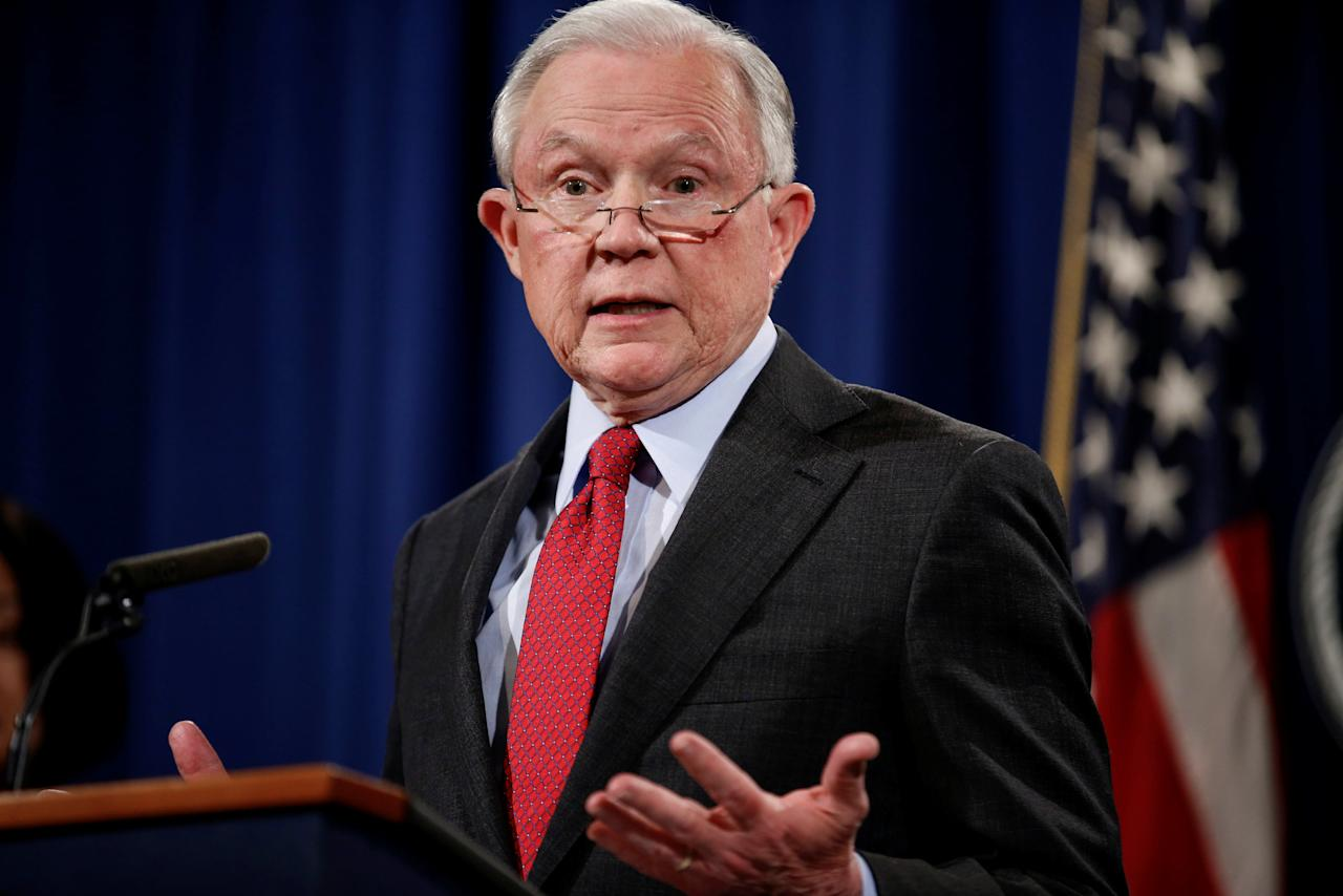 "U.S. Attorney General Jeff Sessions speaks during a news conference to discuss ""efforts to reduce violent crime"" at the Department of Justice in Washington, U.S., December 15, 2017.   REUTERS/Joshua Roberts"