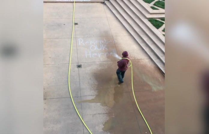 Cleveland State University blasted online after 9/11 memorial chalk art is washed away