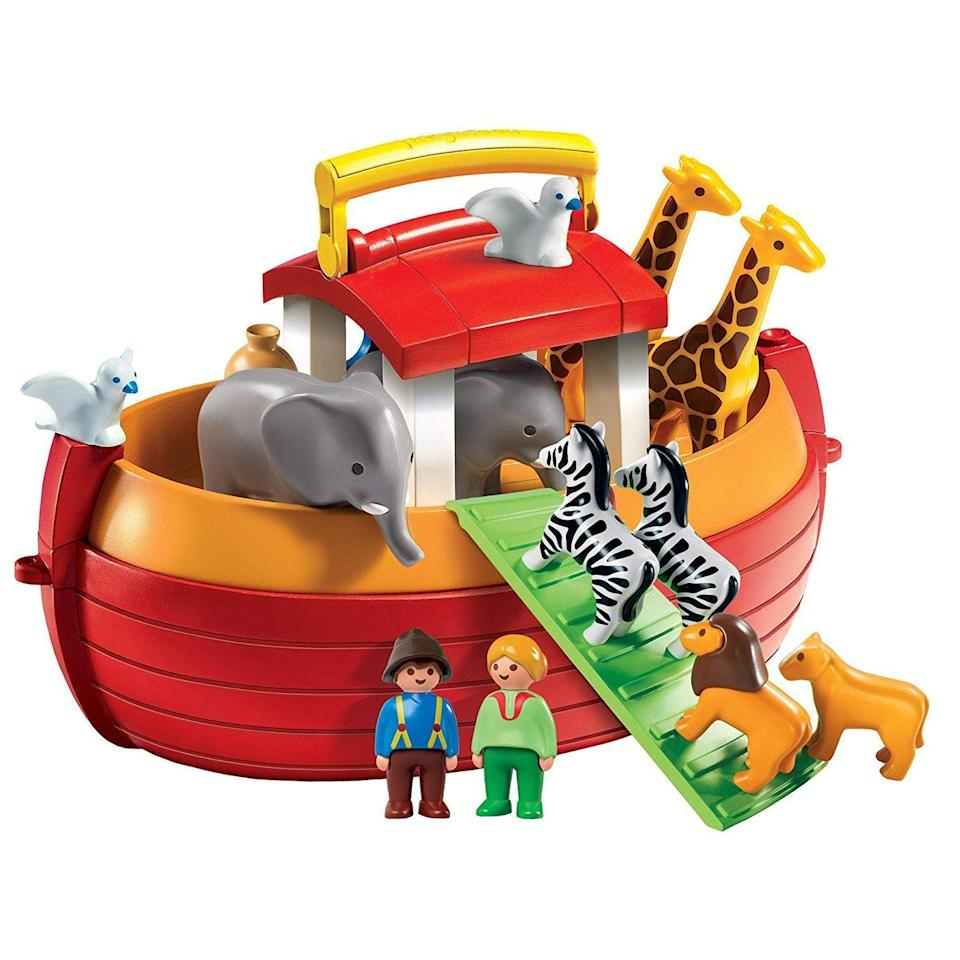 "<p><strong>Playmobil </strong></p><p>amazon.com</p><p><strong>$44.99</strong></p><p><a href=""http://www.amazon.com/dp/B00361FUG4/?tag=syn-yahoo-20&ascsubtag=%5Bartid%7C10055.g.5150%5Bsrc%7Cyahoo-us"" rel=""nofollow noopener"" target=""_blank"" data-ylk=""slk:Shop Now"" class=""link rapid-noclick-resp"">Shop Now</a></p><p>As expected, you get two of every animal (including giraffes and zebras) in this Noah's Ark play set. Kids can act out any story using their imagination. When playtime is over, they all fit neatly into the inside of the boat. PS: <strong>the ark can actually float on water</strong>! <em>Ages 18 months+</em></p>"