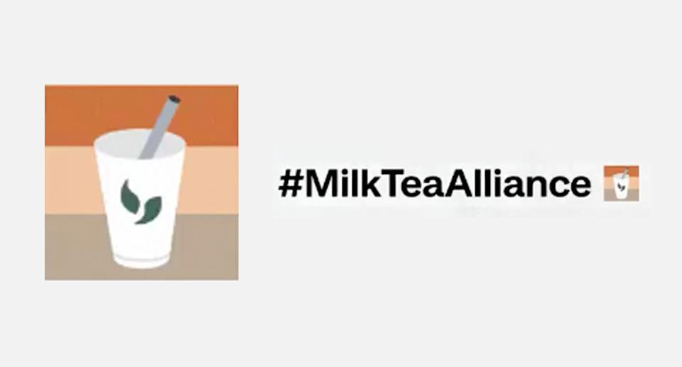 The Milk Tea Alliance hashtag now has its own emoji. Source: Twitter