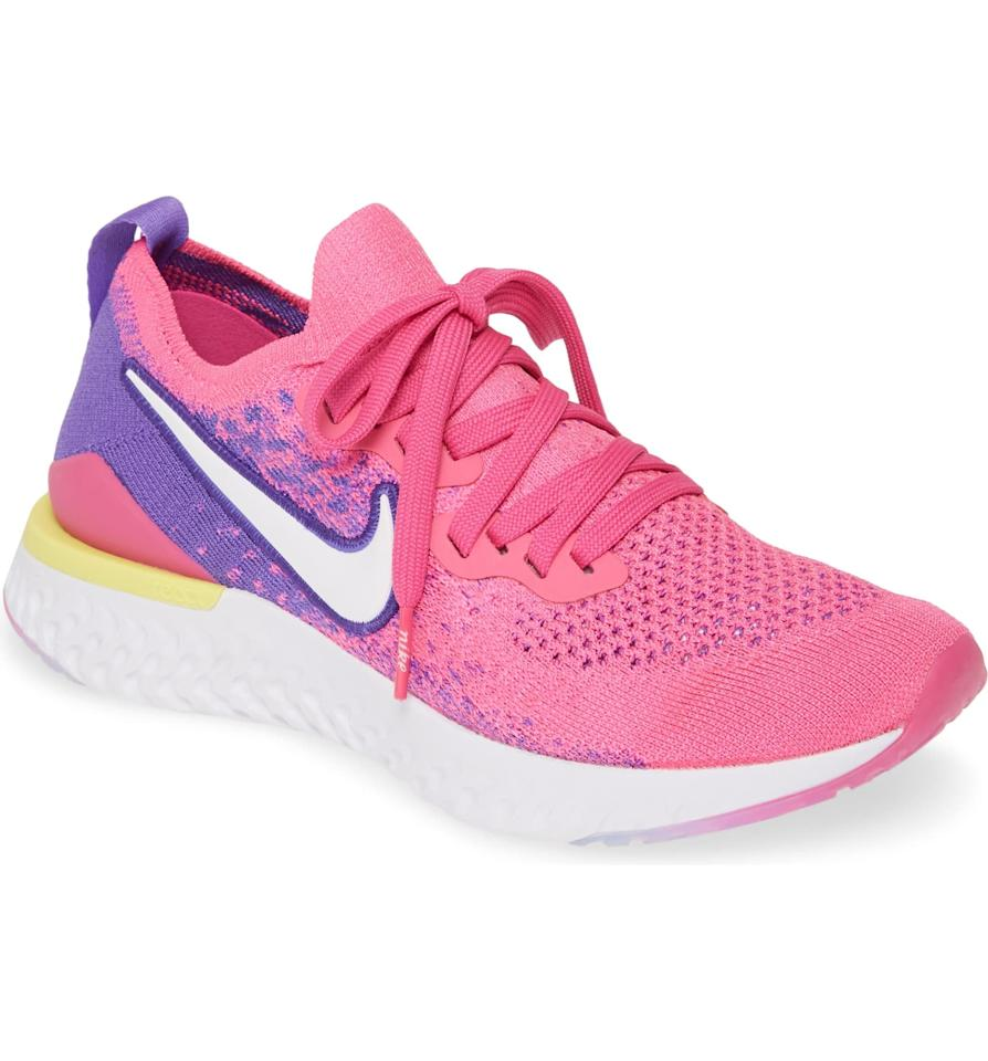 """<p>If your runs are unpredictable - some days you run 15 miles and other days you do a quick three-mile run - the <a href=""""https://www.popsugar.com/buy/Nike-Epic-React-Flyknit-2-Running-Shoe-496918?p_name=Nike%20Epic%20React%20Flyknit%202%20Running%20Shoe&retailer=shop.nordstrom.com&pid=496918&price=150&evar1=fit%3Aus&evar9=46705105&evar98=https%3A%2F%2Fwww.popsugar.com%2Ffitness%2Fphoto-gallery%2F46705105%2Fimage%2F46705458%2FNike-Epic-React-Flyknit-2-Running-Shoe&list1=running%20shoes%2Cgift%20guide%2Cfitness%20gear&prop13=api&pdata=1"""" rel=""""nofollow"""" data-shoppable-link=""""1"""" target=""""_blank"""" class=""""ga-track"""" data-ga-category=""""Related"""" data-ga-label=""""https://shop.nordstrom.com/s/nike-epic-react-flyknit-2-running-shoe-women/5031535?origin=category-personalizedsort&amp;breadcrumb=Home%2FWomen%2FShoes%2FRunning&amp;color=black%2F%20black%2F%20ember%20glow%2F%20gold"""" data-ga-action=""""In-Line Links"""">Nike Epic React Flyknit 2 Running Shoe</a> ($150) is the shoe for you. It's lightweight, """"ultra-comfortable,"""" and has a four-star rating on Nordstrom.</p>"""