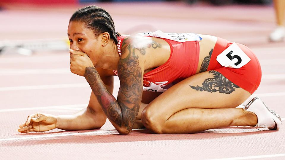 Salwa Eid Naser, pictured here after winning the 400m at the World Athletics Championships in 2019.